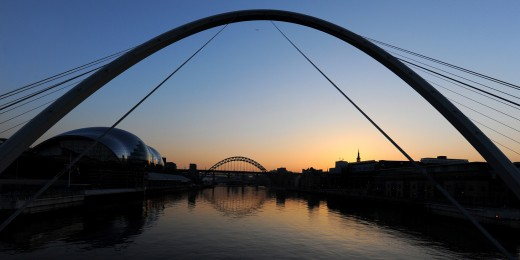 The sun sets behind the Tyne Bridge
