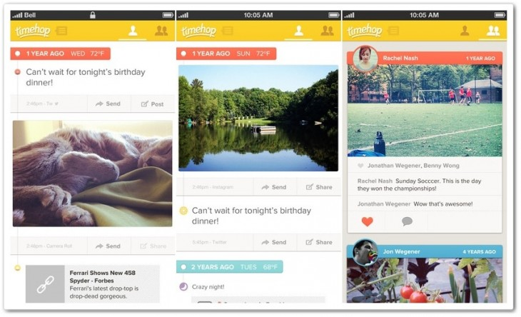 timehop combo 730x444 Virtual rewind app Timehop gets support for Facebook events and friend tagging