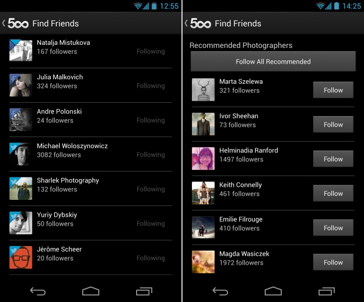 500px find friends 730x606 Nearing 500k downloads, 500px for Android updated with better friend and photo discovery features