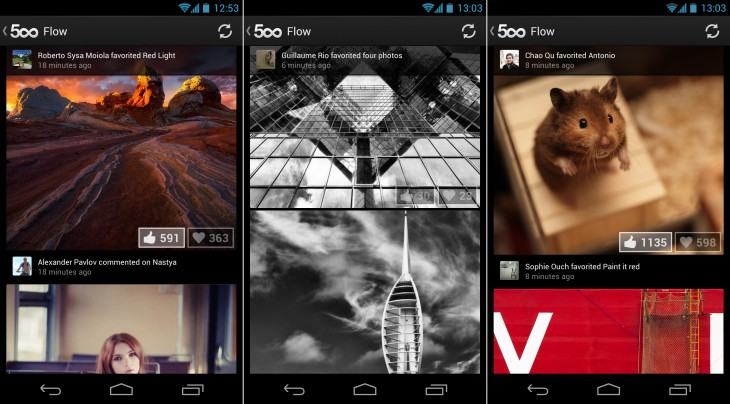 500px flow 730x404 Nearing 500k downloads, 500px for Android updated with better friend and photo discovery features