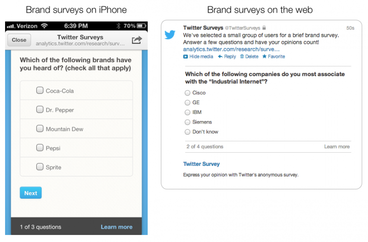 Brand Survey Screenshots 730x480 Twitter opens up cross platform Nielsen Brand Effect survey tool to all advertisers in US, UK and Japan