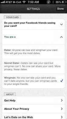 Lets Date Settings Wingman 220x390 Science backed dating app Let's Date adds a Wingman feature to allow friends to play matchmaker