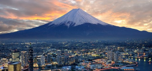 surreal view of Yokohama and Mt. Fuji