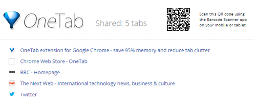 OneTab41 520x207 TNW Pick of the Day: OneTab for Chrome condenses all your tabs into a single tidy list