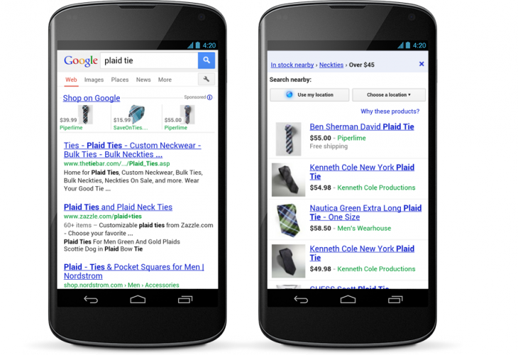 PlaidTie SideBySide 730x500 Google continues to push ad based shopping results, launches Product Listing Ads on smartphones