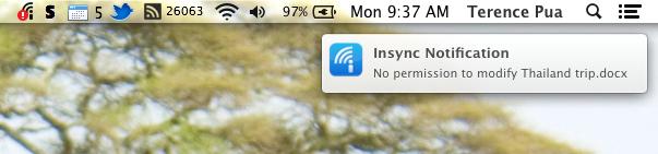 Read-only desktop notification