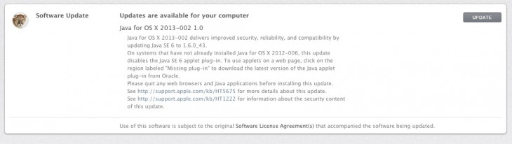 Screen Shot 2013 03 04 at 2.41.44 PM 730x206 Following Oracle patch, Apple releases update to fix new Java zero day vulnerability