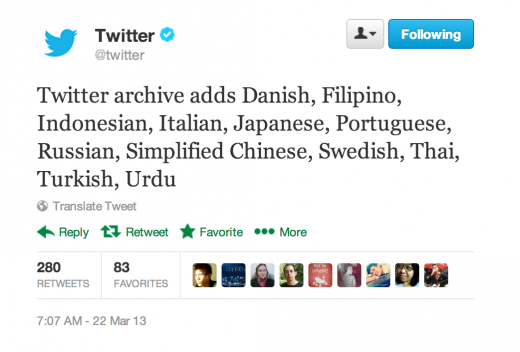 Screen Shot 2013 03 21 at 4.31.34 PM 520x352 Twitter Archive gets support for 12 new languages, including Japanese, Russian and Chinese