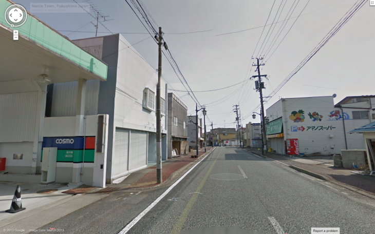 Screen Shot 2013 03 27 at 16.41.59 730x456 Google adds Namie machi to Street View, a small city left deserted by the Fukushima disaster
