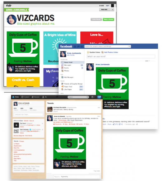 Snap 2013 03 26 at 00.23.47 520x580 With 250k users, Vizify moves out of beta and launches mini self infographics called Vizcards