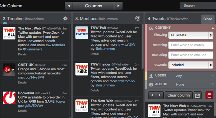 Tweetdeck1 Twitter updates TweetDeck for Mac with content and user filters, advanced search options and more