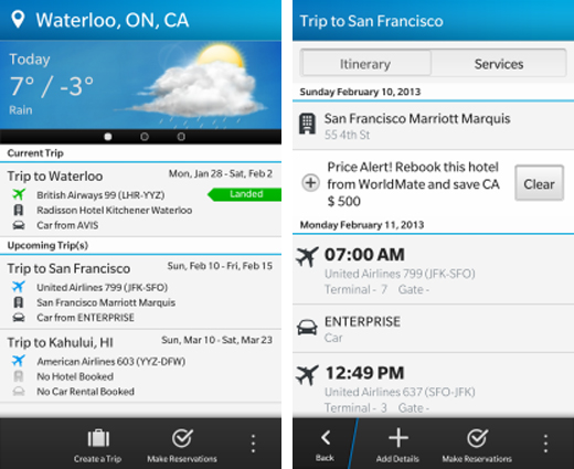 bbtravelscreens1 BlackBerry Travel updated for BB10 with flight status sharing, price alerts and BlackBerry ID support