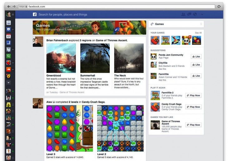 games feed21 730x515 Facebooks redesigned News Feed features specialized feeds: All Friends, Music, Photos and Following