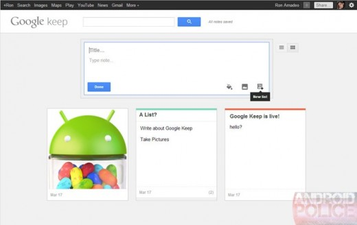 google keep 2 520x328 Google may be readying an Evernote rival as Keep makes a brief appearance online