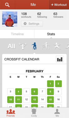l1 220x376 Cody for iPhone is a cross activity exercise journal that lets you record and share workouts with friends