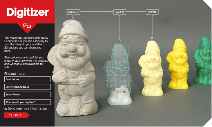 makerbot scanner 730x437 The future: MakerBots badass 3D scanner prototype lets you replicate real world objects