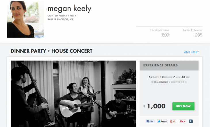 megankeely 730x444 BandPage launches Experiences, giving musicians the chance to sell once in a lifetime gifts online