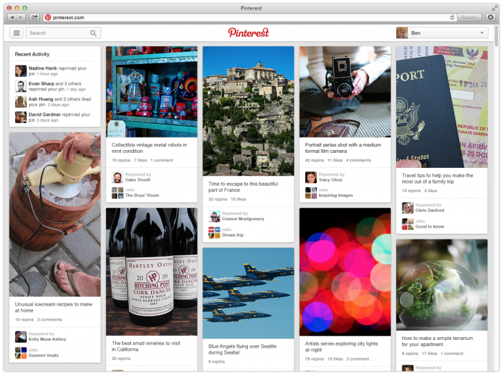pinterest2 730x545 Pinterest rolls out its site redesign with easier access to boards and related content from a pin page