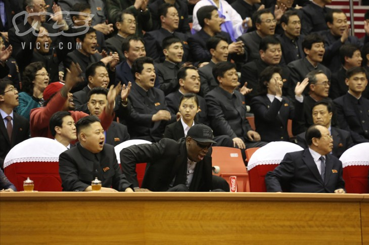 vice2 730x485 Surreal photos: Dennis Rodman watches basketball with North Korean leader Kim Jong un