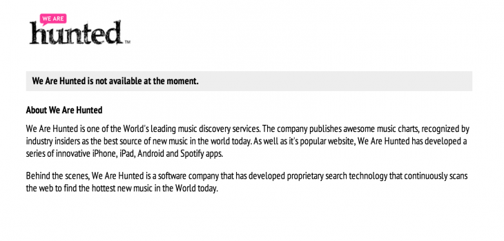 wearehunted 2 730x349 Twitter reportedly readying music discovery service after quietly acquiring We Are Hunted [update]