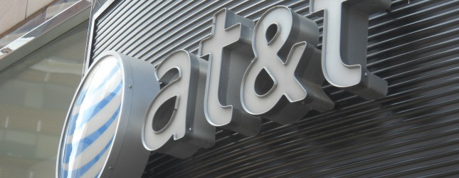 The AT&T logo is seen on June 2, 2010 in