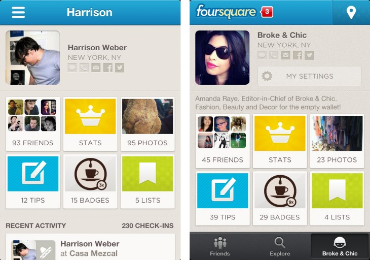 4sq profiles 730x512 Review: Foursquare for iOS catches up to Android with new discovery features and less clutter