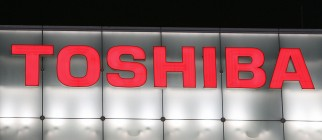 (FILES) Toshiba's logo sign is illuminat