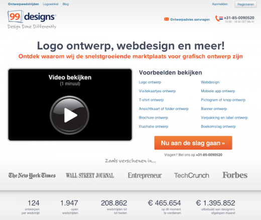 99designs.NL home page 520x438 99designs expands its crowdsourcing service to the Netherlands after paying out $52M to designers