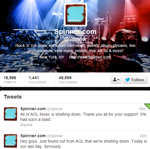 BIzQVIdCEAA4W9l AOL Radio confirms AOL Music, The Boot, Noisecreep, Spinner, and The Boombox are all shutting down