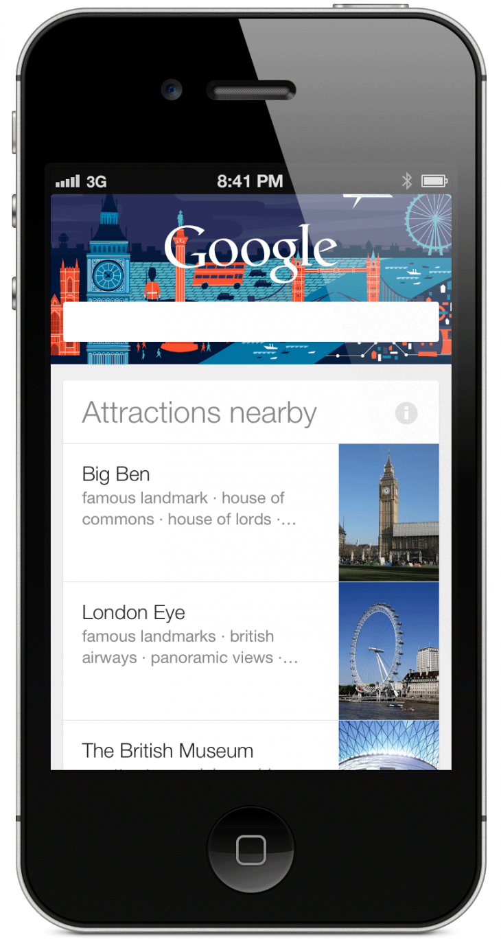 London Attractions 730x1368 Google Now comes to iOS, missing a few options but none of the utility