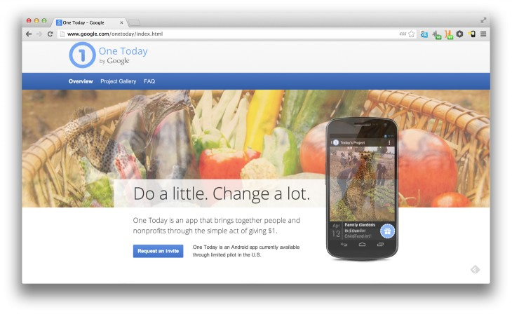 OneToday 730x448 Google is testing One Today, an Android app for giving $1 micro donations to good causes