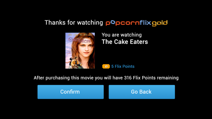 PopcornflixGold Confirmation 730x410 Screen Media unveils PopcornFlixGOLD, an Android app using Tapjoys ads to stream movies for free