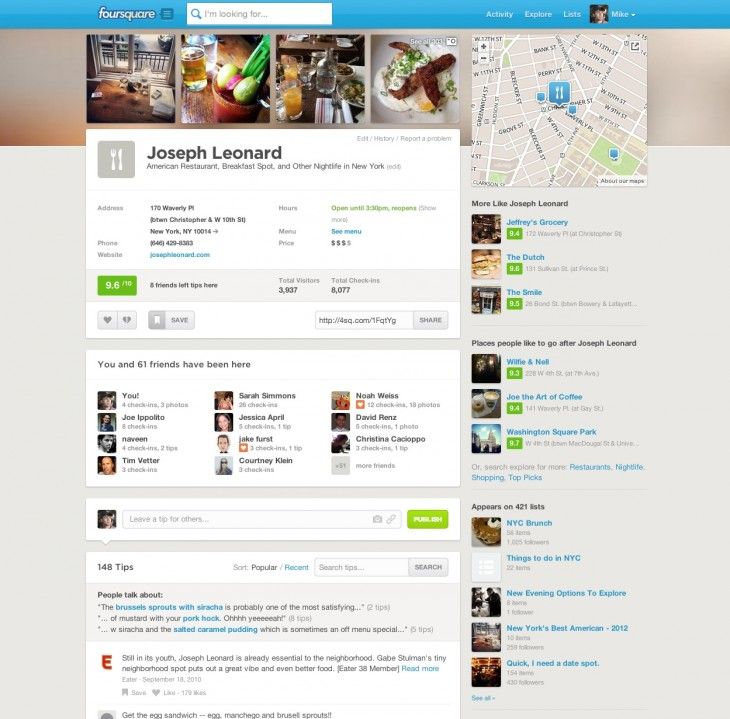 Screen Shot 2013 04 23 at 8.35.47 AM 730x719 Foursquare redesigns web listing pages for its 50M site visitors after Explore usage doubles in 2 months