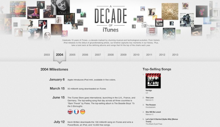 Screen Shot 2013 04 24 at 6.06.56 AM 730x423 Apple commemorates A Decade of iTunes with interactive timeline of its digital music store