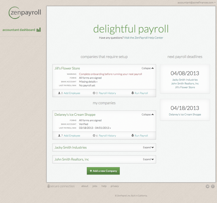ZenPayroll accountant dashboard 730x684 ZenPayroll unveils a cloud based service for accountants to manage payroll for multiple companies
