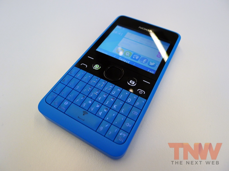 asha1wtmk Nokia unveils the Asha 210, a featurephone with a QWERTY keyboard and dedicated WhatsApp button