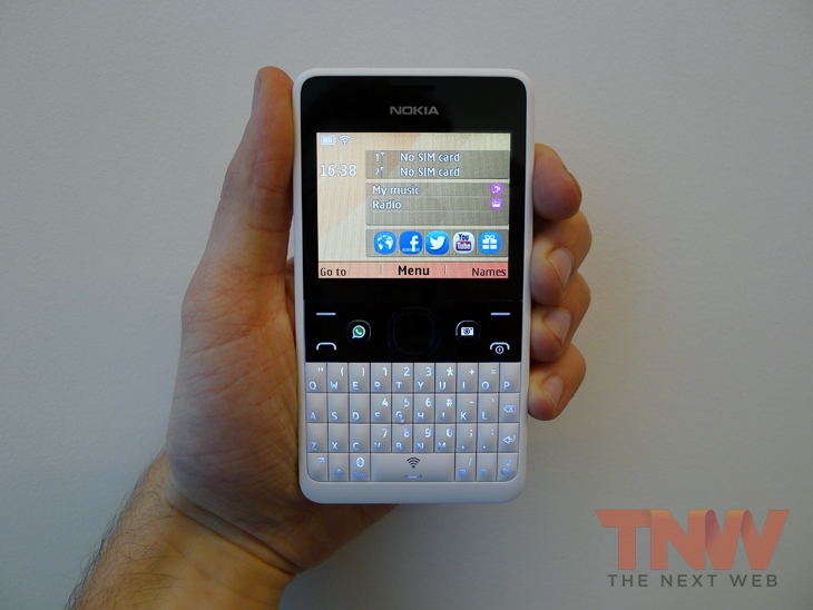asha3wtmk Nokia unveils the Asha 210, a featurephone with a QWERTY keyboard and dedicated WhatsApp button