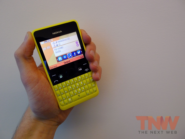 asha4wtmk Nokia unveils the Asha 210, a featurephone with a QWERTY keyboard and dedicated WhatsApp button