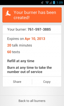 burner android 2 220x366 Burner brings its disposable number service to Android, makes iPhone app free