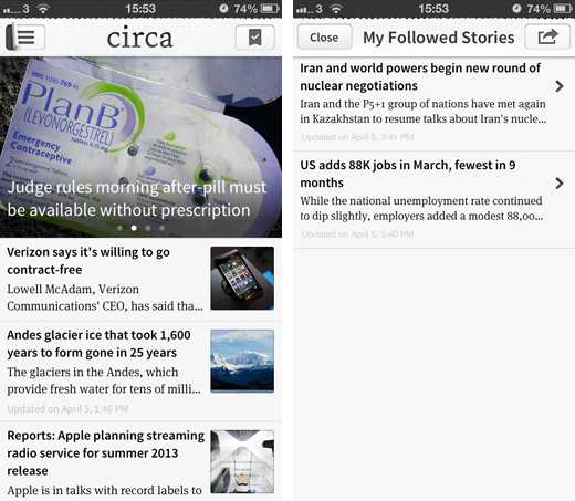 circa1 Circa updates its iOS app with a faster interface and greater focus on following news stories