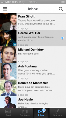 dinbox 220x390  Angie: An AngelList iOS app with full messaging features