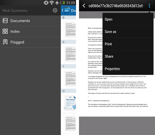 dooscreens2 Doo for Android gives you access to documents stored in the cloud   just don't expect to edit them