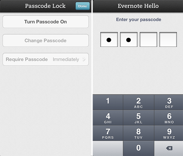 evernotehello passcode Evernote Hello for iPhone gets premium passcode lock, flash controls and improved card scanning