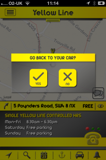g5 220x330 Yellow Line for iOS gives London drivers local parking information and records where they left their car