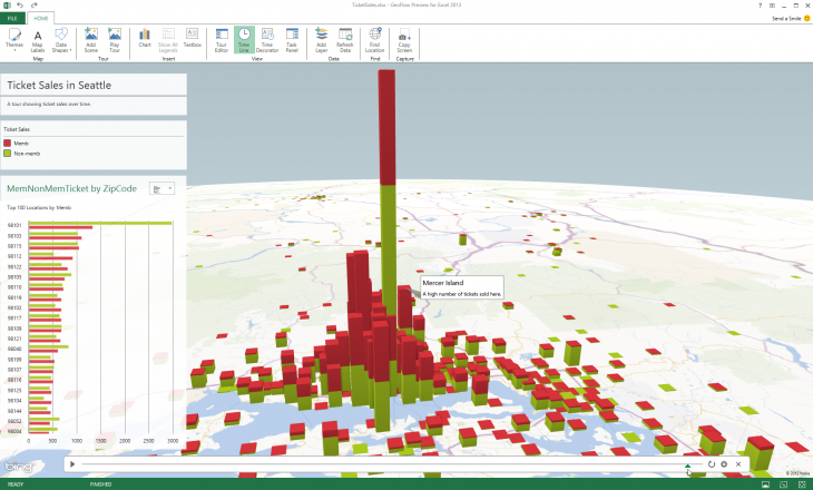 geoflow1 730x440 Microsoft launches GeoFlow for Excel, a tool for visualizing time stamped 3D data built on Bing Maps