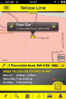 h3 220x330 Yellow Line for iOS gives London drivers local parking information and records where they left their car