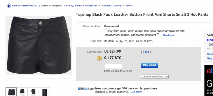 hotpants 730x330 This new Web mod shows you Bitcoin prices for eBay auctions