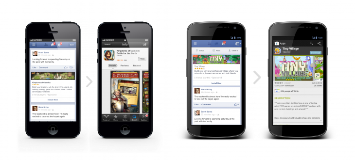 iPhone Android 730x330 Facebooks long road to mobile best: HTML5, native apps, and now Home