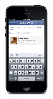 iphone5 share dialog 2 220x414 Facebook debuts Share Dialog for iOS out of beta, lets developers add sharing to apps with one line of code