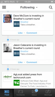 newsfeed 220x390  Angie: An AngelList iOS app with full messaging features